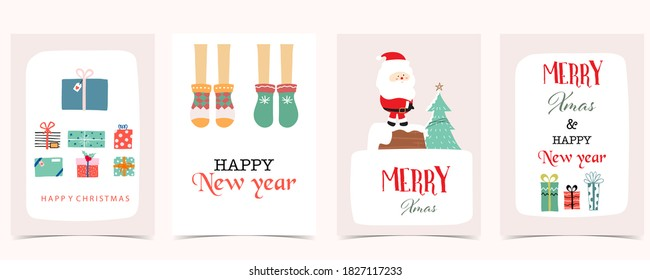 Cute christmas collection with santa claus,gift box.Vector illustration for poster,postcard,banner,cover - Shutterstock ID 1827117233