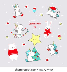 Cute Christmas Comic Unicorns and Friends. New Year background.