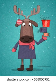 Cute Christmas deer holding presents for Christmas and New Year on blue background. Creative cartoon style. Can be used as a postcard, placard, poster or print. Flat design. Vector illustration.