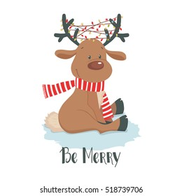 Cute Christmas deer with little bird and gift. Reindeer on a white background. Cartoon vector illustration