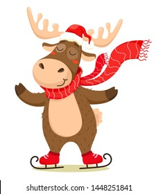A cute Christmas deer with a scarf skating and wearing a Santa Claus hat. Vector isolate on white background.