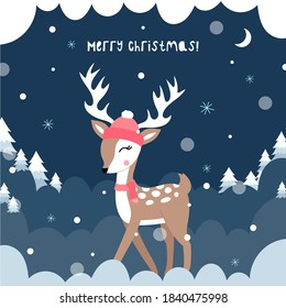 Cute christmas deer. Vector children's illustration. Christmas night background with Christmas trees and snowflakes. Deer in a hat and scarf. Poster, postcard, clothes.