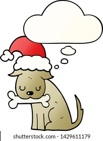 cute christmas dog with thought bubble in smooth gradient style