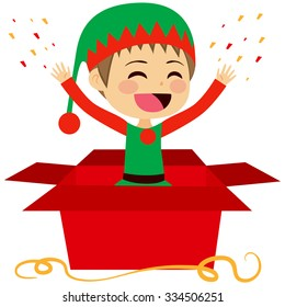 Cute Christmas elf coming out of inside Christmas red gift box