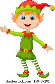 Cute Christmas elf presenting