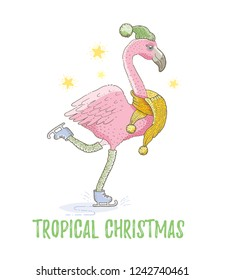 Cute Christmas exotic animal art. Flamingo tropical bird skates in scarf. Merry Xmas, New Year cartoon watercolor icon. For girl t-shirt print, poster, card design. Hand drawn vector sketch isolated