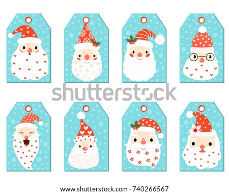cute christmas gift tags with funny hipster santa faces for gifts and presents