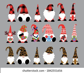 Cute Christmas Gnomes in Leopard and Buffalo Plaids