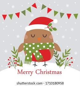 cute christmas greetig card with funny bird design