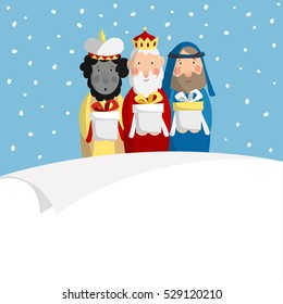 Cute Christmas greeting card, invitation with three magi bringing gifts and blank paper. Biblical kings Caspar, Melchior and Balthazar. Flat design, vector illustration background.