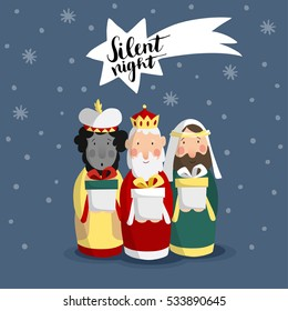 Cute Christmas greeting card, invitation with three magi bringing gifts and falling star. Biblical kings Caspar, Melchior, Balthazar. Hand lettered comet. Flat design, vector illustration background.
