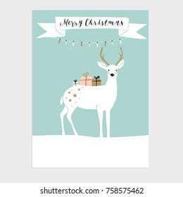 Cute Christmas greeting card, invitation with reindeer and gift boxes. Hand drawn design. Vector illustration background.