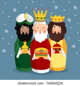 Cute Christmas greeting card, invitation with three magi. Biblical kings Caspar, Melchior and Balthazar. Vector illustration background with stars and falling snow.