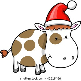 Cute Christmas Holiday Cow Vector Illustration