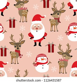 Cute Christmas holidays cartoon seamless pattern and background. Santa Claus, deer, snowman and gift vector.