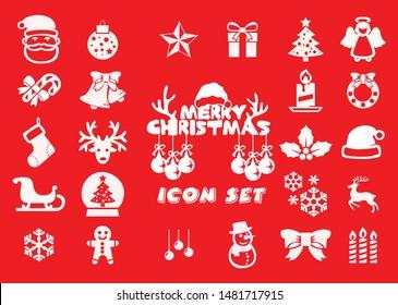Cute Christmas Icon Set , Vector Illustration .