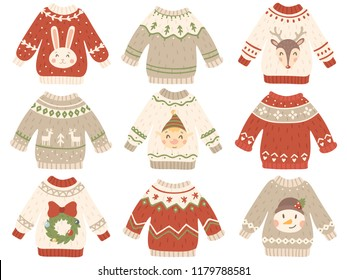 Cute christmas jumper. Xmas ugly sweater clothes with funny snowman, Santas helpers and Santa beard. Winter fashion tacky funny grandmother gift wool jumpers, pullover vector isoleted icon set