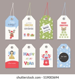 Cute Christmas labels set with glitter.