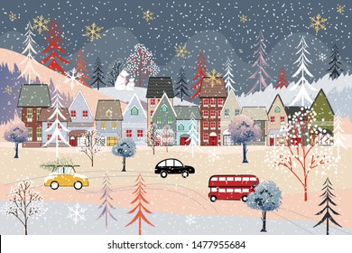 Cute Christmas lanscape in the town with fairy tale houses,polar bear family, trees and cars, Panorama flat design in winter city life in holiday eve, Christmas and new year background