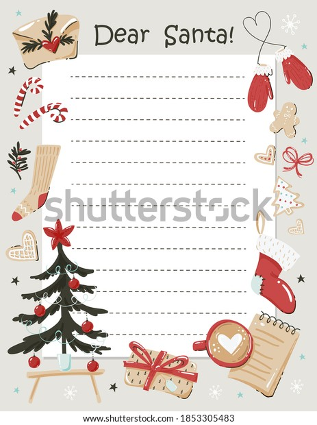Cute christmas letter template. Ready to print