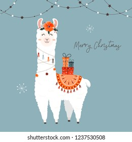 Cute Christmas llama.