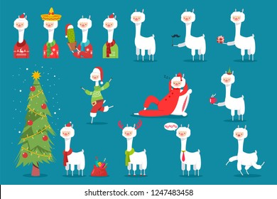 Cute Christmas llama in Santa hat, reindeer antlers, with tree, bag and box of gifts, cup of coffee, in Mexican hat and cactus. Vector flat holiday funny character set isolated on background.
