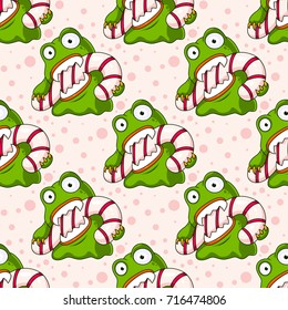 Cute Christmas Monster Eating Candy Cane Seamless Pattern - Great for Christmas and Winter Projects, Wrapping Paper, Backgrounds, Wallpapers.
