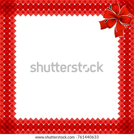 cute christmas or new year border with red wicker pattern wrapped with red ribbon in the