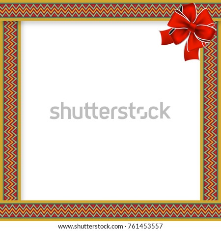 cute christmas or new year frame with zig zag pattern red bow in the corner