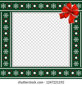 cute christmas or new year green border with xmas snowflakes pattern ornament and red festive bow
