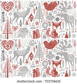 Cute Christmas pattern in Scandinavian style. Editable vector illustration