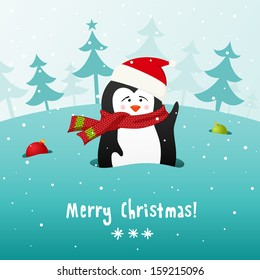 Cute Christmas penguin in knitted scarf. Vector background. EPS 10.