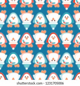 Cute Christmas penguin seamless vector pattern with Santa's hat and mistletoe