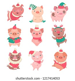 Cute Christmas piggies collection. Vector illustration of funny cartoon pigs in different costumes, such as Elf, Santa and Rudolph. Isolated on white.
