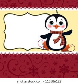 Cute christmas postcard template blank