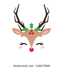 Cute Christmas red nose reindeer face vector. Funny cartoon deer with with with Christmas decoration. Vector illustration