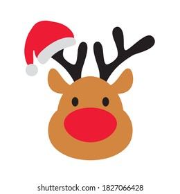 Cute Christmas reindeer face with Santa Claus hat on an antler vector illustration.