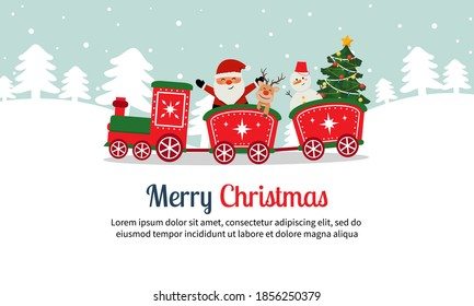 Cute Christmas Santa Claus train with reindeer and snowman. Christmas lanscape. Flat vector cartoon style