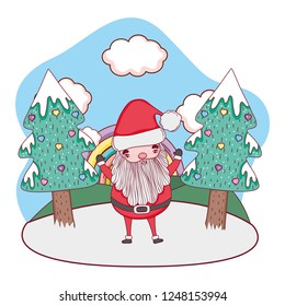 cute christmas santa claus with tree in the snowscape