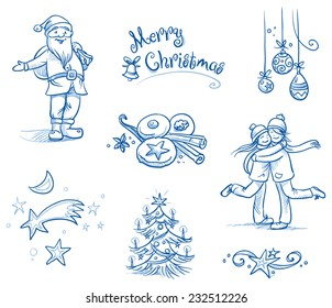 Cute Christmas Scenes And Icons Santa Clause Chrsitmas Tree Stars People Huging