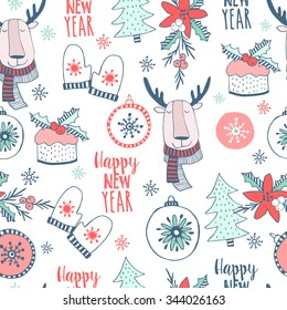 Cute christmas  seamless pattern  with cute animal and deco in cartoon style