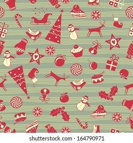 Cute Christmas seamless pattern with assorted seasonal objects