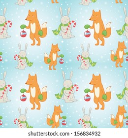 Cute Christmas seamless pattern with winter bunny and fox