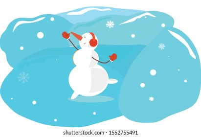 Cute christmas snowman dancing and jumping outside