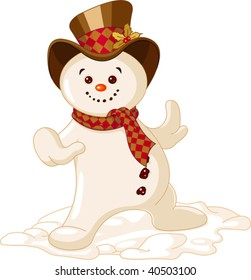 Cute Christmas Snowman dancing in the snow