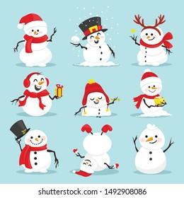 Cute Weihnachtsschneemänner flache Vektorgrafiken Set. Wintersport im Freien für Kinder, isoliertes Paket mit Clips. Schneemann auf blauem Hintergrund mit Hut-, Schal- und Fausthandschuhen
