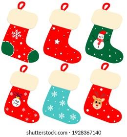 cute christmas socks illustration vector