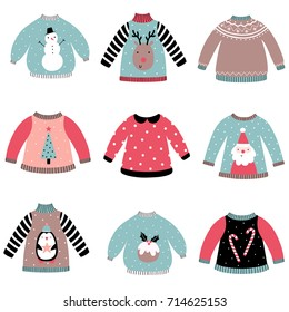Cute Christmas sweaters vector set