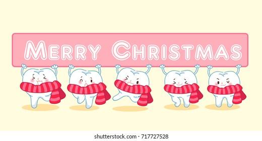 cute Christmas teeth  - Shutterstock ID 717727528