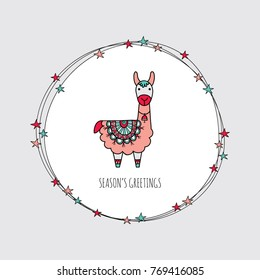 Cute Christmas themed llama surrounded by a wreath with stars and the words season's greetings, vector illustration.